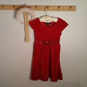 George Size 4 Solid Red Velour Formal Dress